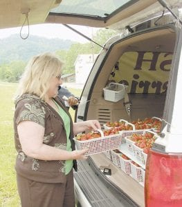 Denise Logan of Whitesburg, left, picked out a fresh basket of strawberries from the back of a van Granados drove to Ermine. It was her second purchase in three days.