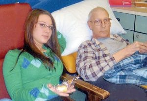 Staci Hicks and her father, Vernon Hicks, recently enjoyed eating a Hostess Twinkie together. Vernon Hicks was diagnosed with colon cancer in Jaunary 2007. Because of her father's positive attitude, Staci has been able to cope and help others in the process.