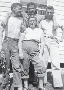 MARLOWE FRIENDS -  Pictured are (left to right) the late Junior Stidham, Hubert Tackett, Bobby Pennington, and (front) the late Faye Stidham. Whitesburg correspondent Oma Hatton says the four were good friends from Marlowe.
