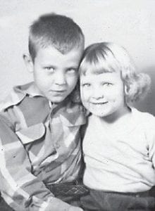 BROTHER AND SISTER -  Brenda and Jackie Absher, children of Chester and Iva Absher, are pictured in this Marlowe School picture from 1955-56.