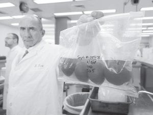 Mark Roh, U.S. Food and Drug Administration's acting regional director, held a bag of tomatoes being tested for salmonella bacteria at FDA's southwest regional research lab, in Irvine, Calif., where microbiologists are working to trace the source of a multistate salmonella food poisoning outbreak. (AP Photo)