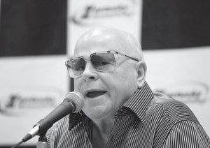 Speedway Motorsports Inc. owner Bruton Smith talked during a news conference prior to the NASCAR Nationwide Series auto race at Kentucky Speedway on June 14. (AP Photo/Ed Reinke)