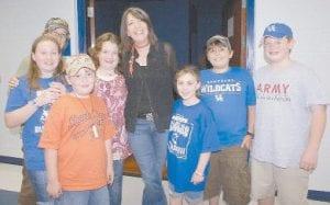 Kathy Mattea posed for a photo with members of the Cowan Creek Music School during intermission of her concert.