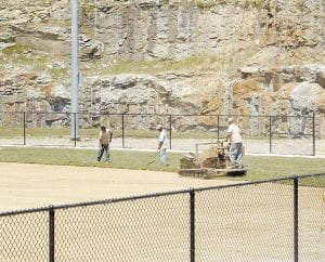 Workers began laying sod on the new baseball field at Letcher County Central High School last week. Nine tractor trailer loads full of sod were needed to cover the field. The field is expected to be finished this week.