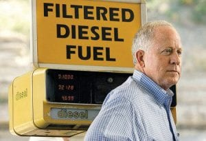Democratic U. S. Senate candidate Bruce Lunsford stood in front of a diesel fuel pump at a convenience store in Jackson as part of his
