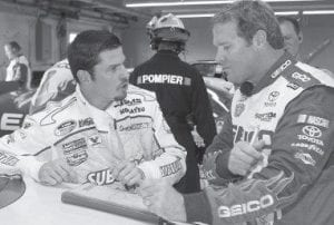 Patrick Carpentier, left, spoke with Mike Wallace earlier this month during practice for a Nationwide series race. (AP Photo)