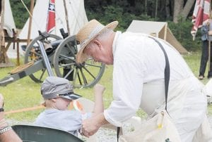 Even the spectators got to be part of the battle. Here, reenactor Ken