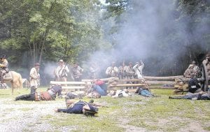 A reenactment of a battle which saw Confederate soldiers led by Gen. John Hunt Morgan turn away Union forces which were trying to capture Morgan's troops as they entered into Kentucky. (Photo by James Pelfrey}