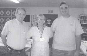 BIRTHDAYS — Pictured (left to right) are Arnold Mullins, Jewell Maggard, and Bob Lewis. The three recently celebrated their birthdays at a dinner at the Ovenfork Senior Citizens Center.