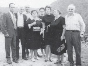 MARLOWE PEOPLE — Those from Marlowe will remember all these people, says Whitesburg correspondent Oma Hatton. Pictured are (front row, left to right) Henry Hatton, Bill Howard and wife Cindy, Etta Hatton, Polly Howard and husband Leslie, (back row) Sylvester