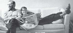 Tom and Pat Gish relaxed on the couch in their home on School Hill in Whitesburg in the early 1970's.