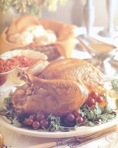 The traditional Thanksgiving centerpiece is seen here.