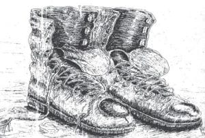 Daddy's coal-mining boots (Illustration by Roy Swiney, Jeremiah)