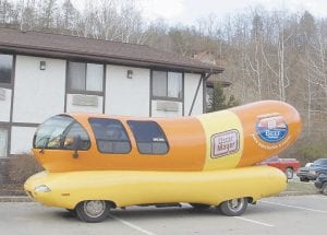 The Oscar Mayer Wienermobile can be seen on the parking lot of the Super 8 motel in West Whitesburg this week. The