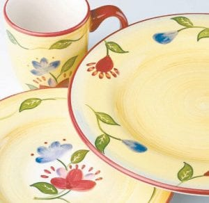 This photo provided by Pfaltzgraff Everyday shows a dinnerware pattern called