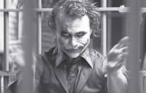 Heath Ledger starring as The Joker, is shown in a scene from