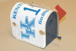 HELPING VETERANS — Pictured above is a University of Kentucky license plate birdhouse made by Arnold Lee Watson, the father-in-law of Letcher County Clerk Winston Meade. The birdhouses are for sell in the clerk's office for $20 each. All proceeds go to Help a Veteran Everyday, or H.A.V.E. program.