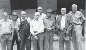 OLD MARLOWE FRIENDS are pictured at a Marlowe reunion in the 1980s in front in the old company store. From left to right (front row) are Philip Conn, John Brown, Bill Howard, John Stidham, Frank Necessary, Eli Banks, (back row) Clyde Hatton and Dan Combs. All are now deceased except Clyde Hatton and Dan Combs.