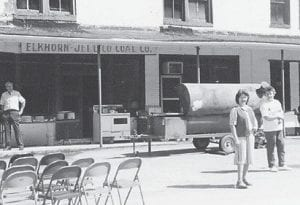 PENNINGTON SISTERS — Dorthy Pennington Tacket and Pearl Pennington Noble are pictured in front of the old Elkhorn and Jellico Coal Company Store in the 1980s.