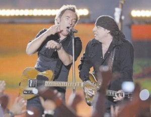 Bruce Springsteen (left) and Steven Van Zandt of Bruce Springsteen and the E Street Band performed at halftime of the NFL Super Bowl XLIII football game on Sunday in Tampa, Fla. (AP Photo)