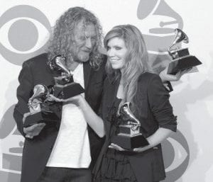 BIG WINNERS — Robert Plant, left, and Alison Krauss held their album of the year and best pop collaboration with vocals awards backstage at the 51st Annual Grammy Awards. (AP Photo)