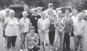 FAMILY REUNION — The Niece family gathered for a reunion in June. Pictured are (front) James Brown, (first row) Nettie Jo Hawn, Kathaleen Hall, Merrill Brown, Merileen Cogdill, Pat Jones, Eva Martin, Donna Copple, Tammy Jackson, Ruby Cooper, (second row) Hoyd Flynn, Tommy Niece, Cheryl Blair, and James Flynn.