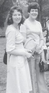 MARLOWE REUNION — At left, the late Bernice (Hatton) and Wanda (Stidham) Miller, two good friends like sisters, pose together at a Marlowe reunion in the 1970s.