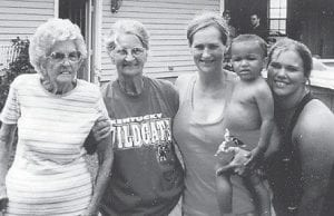 FIVE GENERATIONS — Pictured are five generations of the Julia Lucas family. From left to right are Julia Lucas, 96, wife of the late Edgar Lucas; Loretta Lucas Blair, 74; Twana Lucas Farnworth, 49; Nathan Eleigh Pedigo, 22 months; and Michelle Pedigo, 19, all of Thornton.