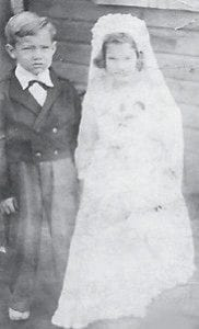 WEDDING — Jim Cornett of Burnside, and the late Kathleen Stidham are pictured 'getting married' at a young age.