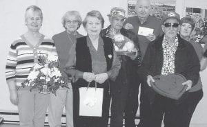 SENIOR VALENTINES — The Valentine's Day winners at the Ermine Senior Citizens Center are (left to right) Janice Forester, Yvonne Hammock, Kathy Palumbo, Everett Joseph, John Duty, Leroy Sexton, and Sue Sexton.