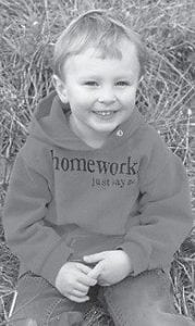 FOUR YEARS OLD — Kyle Banks Galer celebrated his fourth birthday on February 18. He is the son of Tyler and Amanda Galer of Ludlow. His grandparents are Glen and Sue Banks of Cowan, Sybil Galer of Findlay, Ohio, and Fred Galer of Inez.