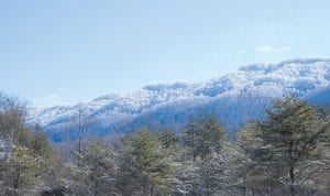 SNOWCAPPED — Heavy snow fell on the top of Pine Mountain in Letcher County earlier this week, putting an exclamation point on this winter's prettiest snowfall. This photo was taken at Cram Creek at Mayking. (Photo by Becky Johnson)