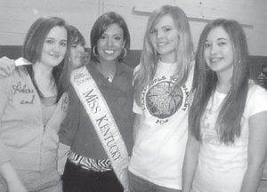 MISS KENTUCKY recently visited Beckham Bates Elementary School. Pictured are (left to right) Hannah Madden, Jacob Bradshaw, Miss Kentucky Emily Cox, Brooklyn McCall, and Ashley Sexton.