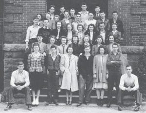 SCIENCE CLUB — Pictured are members of the 1939-1940 Whitesburg High School Science Club, (first row, sitting) Burchel Cornett, Newton Cornett, (first row, standing) Loretta Coldiron, Edward Smith, Edra Amburgey, Finley Noble, Velma Sturgill, Beryl Franklin, (second row) Johnny McIntosh, Janice Mullins, Anna Reece Caudill, Clarice Lynch, Minerva Ruth Zimmerman, Eleanor Fairchild, Emma Jean Amburgey, (third row) Edgar Blair, Harold Fields, Betty Jo Picklesimer, Kathryn Webb, Juanita Gish, Eva Mae Webb, Challis Ison, Vesta Blair, (fourth row) Juanita Mullins, Emma Hart, Viola Wadell, Jack Swisher, Eric Rierson, Beryl Holbrook, Steve Bowen, Edison Banks, (fifth row) Lawrence Brown, Bradley Blair, Jack Passmore, Orell Collins, and Edgar Banks. In hiding are Florence Hale and Marieta Boyd.