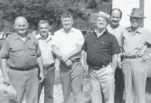 MARLOWE FRIENDS — Former Marlowe residents who gathered at a reunion in the 1980s included Lenville Sexton, the late Everet Hall, the late Junior Stidham, the late Coy Morton, Charles Noble, and the late John Stidham.