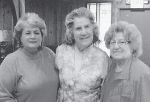 POSING for a picture are (left to right) Dorthy Miles, Oma Hatton, and Kathleen Brock.