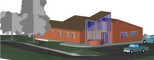 Pictured above is an architect's rendering of a new office building to house the Letcher County Conservation District. The building would replace the old KYVA Motor Building, which is on the National Register of Historic Places.