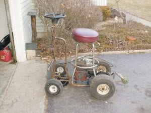 In this photo released March 31 by the Newark (Ohio) Police Department, a motorized bar stool is shown. Police in Newark, 30 miles east of Columbus, say when they responded to a report of a crash with injuries on March 4, they found a man who had wrecked a bar stool powered by a deconstructed lawn mower. Police say Kile Wygle, 28 was charged with operating a vehicle while intoxicated after he told an officer at the hospital that he had consumed 15 beers. Wygle told police his motorized bar stool can go up to 38 mph. (AP Photo)