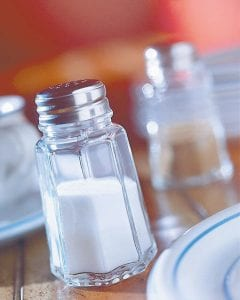 80 percent of the average American's salt intake occurs without them salting their food. It comes from the salt in many packaged and processed foods and meals served in restaurants.