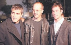 Actors Anthony Edwards, center, and Noah Wyle, right, joined George Clooney, at a premiere of Clooney's movie