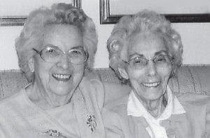 GIBSON GIRLS — Posing for a picture are the last two Gibson girls, Virginia Gibson Brown, 90, and Mattie Vern Gibson Banks, 93.