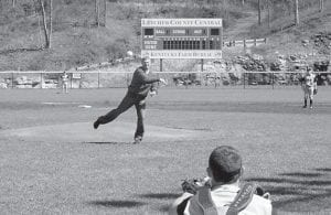 Mark Wright, agency manager of Kentucky Farm Bureau Insurance in Letcher County and avid baseball fan, threw out the first pitch of a boys' baseball tournament sponsored by his agency. (Photo by Chris Anderson)