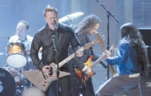 James Hetfield of Metallica performed after the band was inducted into the Rock and Roll Hall of Fame at the 2009 Rock and Roll Hall of Fame Induction Ceremony on April 4 in Cleveland. (AP Photo)