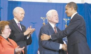 President Barack Obama embraced Sen. Edward Kennedy, D-Mass., as bill co-sponsor Orrin Hatch, R-Utah, second left, and Sen. Barbara Mikulski, D-Md., watched before Obama signed the Edward M. Kennedy Serve America Act at the SEED School of Washington, a public boarding school that serves inner-city students facing problems in both the classroom and at home, in Washington. (AP Photo)
