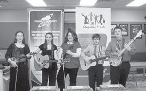 YOUNG MUSICIANS — Members of the Cowan Creek Youth String Band are (left to right) Rebecca Standifur, Whitney Stamper, Autumn Dollarhide, Dylan Caudill, and Logan Dollarhide.