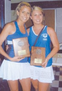 DOUBLES TEAM — Letcher County Central High School's Allison Combs and Hayley Kincaid won the 14th Region Girls' Doubles Tennis Tournament held in Estill County. The two will participate in the state tennis tournament in Lexington tomorrow (Thursday).