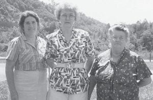 AT THE LAKE — (Left to right) Oma Hatton, Anna Watkins and the late Cindy Howard, Oma Hatton's mother, are pictured at Carr Creek Lake. Anna Watkins has been a subscriber to The Mountain Eagle for many years to keep up with her friends here.