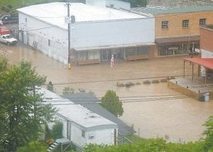 This photo shows downtown Neon inundated by floodwaters on June 17. (Photo by Reda Watkins)