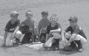ALL-STAR COUSINS — Cousins (left to right) John Hayden Fleming, son of John and Brandi Fleming; Dawson Fleming, son of Jody and Satanna Fleming; Brayden Fleming, son of Josh Fleming and Melissa Rose; Kannan Johnson, son of Brent and Jessica Johnson; and Hunter Brashear, son of Richard and Tomeka Brashear, all played on the same Fleming- Neon All-Star team.