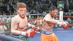 Fight action between Manny Pacquiao, right, and Ricky Hatton is shown from the boxing game,